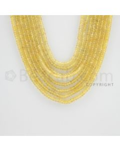 2.50 to 3.40 mm - 8 Lines - Yellow Sapphire Faceted Beads - 16 to 20 inches (YSFB1002)