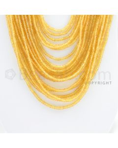2.50 to 3.80 mm - 21 Lines - Yellow Sapphire Faceted Beads - 18 to 27 inches (YSFB1003)