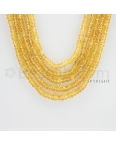 2.50 to 4.50 mm - 5 Lines - Yellow Sapphire Faceted Beads - 18 to 20 inches (YSFB1004)