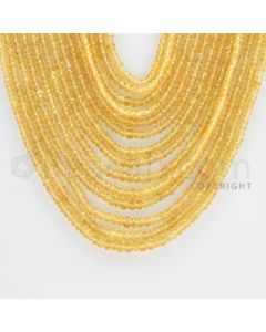 2.40 to 4.10 mm - 14 Lines - Yellow Sapphire Faceted Beads - 16 to 21 inches (YSFB1005)