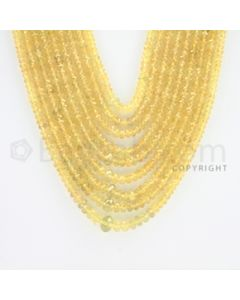 2.50 to 6.50 mm - 9 Lines - Yellow Sapphire Faceted Beads - 18.50 to 23 inches (YSFBC1002)