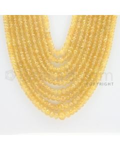 2.20 to 7.40 mm - 9 Lines - Yellow Sapphire Faceted Beads - 19 to 24 inches (YSFBC1004)