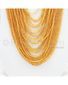 2.20 to 3.50 mm - 21 Lines - Orange Sapphire Faceted Beads - 21 to 30 inches (OSFB1001)