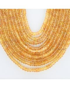 2.30 to 4.30 mm - 10 Lines - Orange Sapphire Faceted Beads - 21 to 26 inches (OSFB1004)
