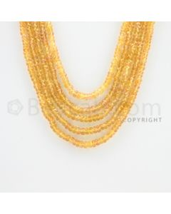2.80 to 3.90 mm - 5 Lines - Orange Sapphire Faceted Beads - 13 to 16 inches (OSFB1006)
