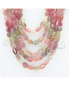 8.00 to 15.00 mm - 5 Lines - Multi-Sapphire Tumbled Beads - 19 to 26 inches (MSTub1041)