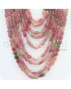7.50 to 15.50 mm - 9 Lines - Multi-Sapphire Tumbled Beads - 17 to 28 inches (MSTub1042)