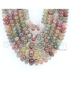 4.80 to 10.50 mm - 5 Lines - Multi-Sapphire Smooth Beads - 18 to 20 inches (MSSB1010)