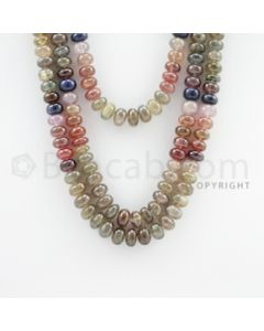 8.50 to 10.00 mm - 3 Lines - Multi-Sapphire Smooth Beads - 18 to 23 inches (MSSB1011)