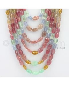 6.00 to 12.00 mm - 6 Lines - Multi-Sapphire Faceted Tumbled Beads - 16 to 23 inches (MSFLB1011)