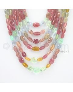 5.00 to 11.00 mm - 6 Lines - Multi-Sapphire Smooth Beads - 15 to 22 inches (MSFLB1013)
