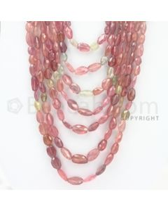 7.50 to 12.00 mm - 7 Lines - Multi-Sapphire Smooth Beads - 14 to 24 inches (MSFLB1015)