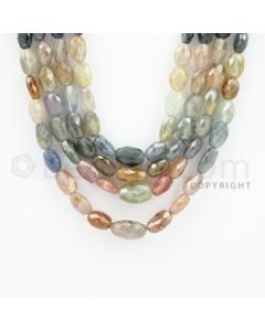 6.00 to 14.00 mm - 4 Lines - Multi-Sapphire Smooth Beads - 17 to 20 inches (MSFLB1016)