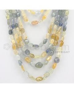 8.00 to 17.00 mm - 7 Lines - Multi-Sapphire Tumbled Beads - 18 to 28 inches (MSTub1057)