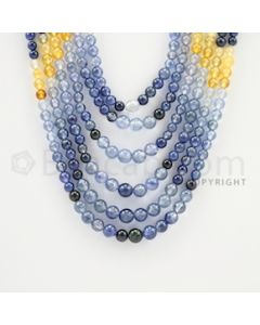 3.50 to 5.50 mm - 6 Lines - Multi-Sapphire Smooth Beads - 15 to 20 inches (MSSB1012)
