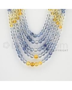 3.50 to 6.00 mm - 5 Lines - Multi-Sapphire Smooth Beads - 17 to 20 inches (MSSB1013)