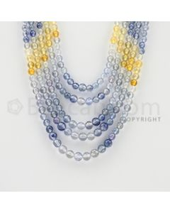 3.80 to 5.80 mm - 5 Lines - Multi-Sapphire Smooth Beads - 14 to 18 inches (MSSB1014)