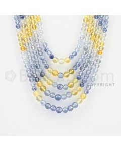 3.80 to 6.00 mm - 5 Lines - Multi-Sapphire Smooth Beads - 15 to 19 inches (MSSB1015)