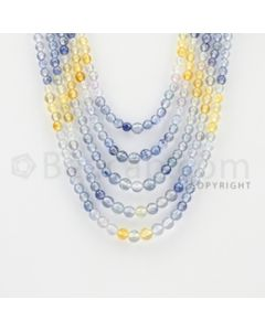 3.80 to 5.50 mm - 5 Lines - Multi-Sapphire Smooth Beads - 14 to 18 inches (MSSB1016)