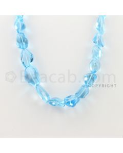 19.00 to 25.00 mm - 1 Line - Blue Topaz Tumbled Beads - 16 inches (BTTuB1003)
