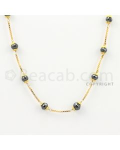 4.50 to 5.50 mm - 1 Line - Black Diamond Faceted Beads Wire Wrap Necklace - 18 inches (GWWD1010)