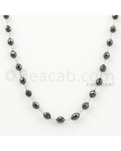 4.00 to 6.50 mm - 1 Line - Black Diamond Drum Beads Wire Wrap Necklace - 18 inches (GWWD1018)