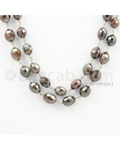 6.60 to 10.00 mm - 1 Line - Brown Diamond Drum Beads Wire Wrap Necklace - 40 inches (GWWD1051)