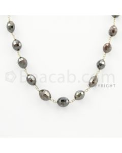 4.10 to 9.50 mm - 1 Line - Brown Diamond Drum Beads Wire Wrap Necklace - 18 inches (GWWD1053)