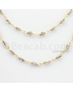 2.10 to 2.30 mm - 1 Line - Brown Diamond Tube Beads Wire Wrap Necklace - 40 inches (GWWD1065)