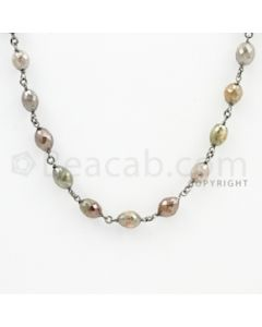 4.30 to 6.20 mm - 1 Line - Fancy Diamond Drum Beads Wire Wrap Necklace - 25 inches (GWWD1076)