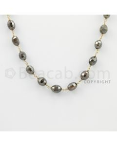 6.00 to 8.00 mm - 1 Line - Fancy Diamond Drum Beads Wire Wrap Necklace - 18 inches (GWWD1078)