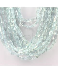 6.00 to 11.00 mm - 11 Lines - Aquamarine Faceted Rectangle Beads - 14.5 inches (AqFReB1004)