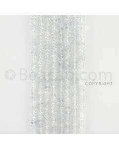 2.30 to 4.00 mm - 8 Lines - White Sapphire Faceted Beads - 15 inches (WSFB1007)
