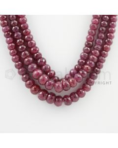 6.30 to 10.00 mm - 3 Lines - Ruby Faceted Beads - 16 to 19 inches (RFB1082)