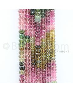 4.50 to 7.00 mm - 7 Lines - Tourmaline Faceted Beads - 15 to 17.50 inches (MuToFB1034)