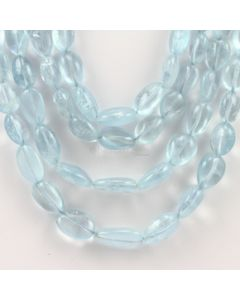 8 to 18 mm - 4 Lines - Aquamarine Gemstone Tumbled Beads - 549.75 carats (AqTuB1029)