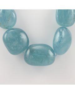30 to 41 mm - 1 Line - Tumbled Aquamarine Beads - 1404.40 carats (AqTuB1047)