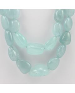 14 to 32 mm - 2 Lines - Aquamarine Gemstone Tumbled Beads - 1030.00 carats (AqTuB1052)