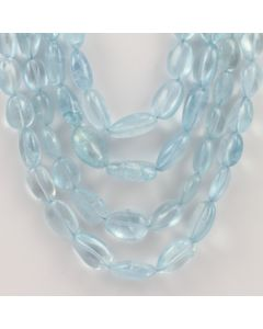 9.70 to 18.50 mm - 4 Lines - Aquamarine Gemstone Tumbled Beads - 812.00 carats (AqTuB1054)