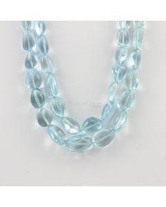 11 to 21 mm - 2 Lines - Tumbled Aquamarine Beads - 659.00 carats (AqTuB1058)