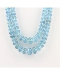 7 to 16 mm - 2 Lines - Aquamarine Gemstone Smooth Beads - 651.00 carats (AqSB1008)