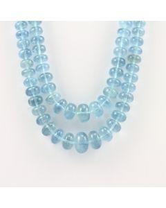 7 to 16 mm - 2 Lines - Aquamarine Gemstone Smooth Beads - 651.00 carats (AqSB1008)