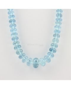 7 to 15 mm - 1 Line - Aquamarine Gemstone Smooth Beads - 288.50 carats (AqSB1010)