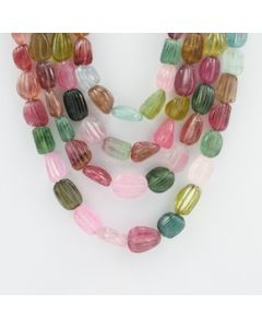 10.50 to 16 mm - 4 Lines - Tourmaline Gemstone Carved Beads - 996.00 carats (ToCarB1001)