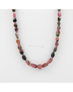 8 to 14 mm - 1 Line - Watermelon Tourmaline Gemstone Faceted Tumbled Beads - 161.00 carats (MuToFTub1007)