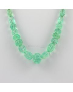 7 to 14 mm - 1 Line - Emerald Gemstone Carved Beads - 182.50 carats (EmCarB1009) -OOS
