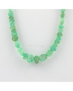 6.50 to 13.50 mm - 1 Line - Emerald Gemstone Carved Beads - 214.00 carats (EmCarB1010) -OOS