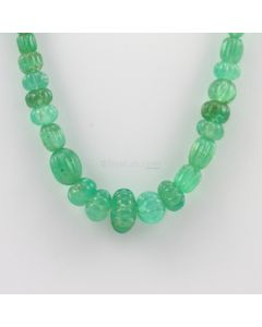 7 to 13 mm - 1 Line - Emerald Gemstone Carved Beads - 171.70 carats (EmCarB1013)