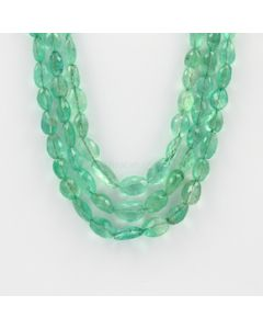 5.50 to 12 mm - 3 Lines - Emerald Gemstone Faceted Tumbled Beads - 294.00 carats (EmFTub1005)