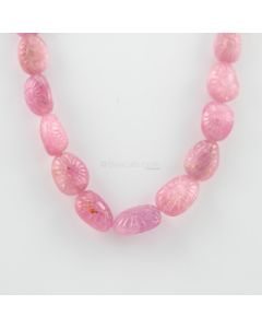 9 to 21 mm - 1 Line - Pink Sapphire Gemstone Long Carved Beads - 512.79 carats (CSNKL1088)